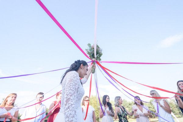 ruban bouquet mariée